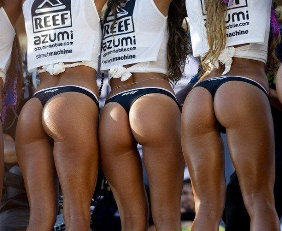 REEF girls in sexy black thong panties